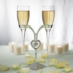 Toasting Flutes With Heart Silver Stand