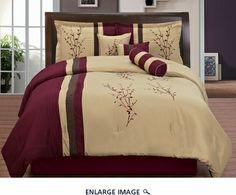 7 Piece King Burgundy and Tan Floral Embroidered Comforter Set Room Ideas Bedroom, Home Bedroom, Bedroom Decor, Bed Cover Design, Bed Design, Bedroom Comforter Sets, Floral Comforter, Burgundy Bedroom, Home Entrance Decor