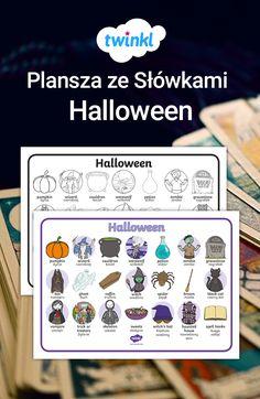 Mata ze słownictwem o tematyce Halloweenowej pomoże dzieciom przyswoić nowe, trudniejsze słówka i odświeżyć prostsze słówka, które już znają. #halloween #esl #tefl #english #angielski #słówka #słownictwo #vocabulary #word #words #mat #polska #twinkl #materiały #szkoła #podstawowa #listopad #święto #dynia #pumpkin Werewolf, Halloween Pumpkins, Esl, Coffin, Halloween Gourds, Werewolves