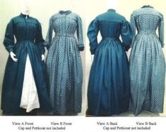 Pleated Wrapper Work Dress Morning Gown Maternity Dress Civil War Reproduction Laughing Moon Sewing Pattern (Pattern Only) - Ladies' Pleated Wrapper, Morning Dress, Work Dress and Maternity Dress with pleat Victorian Ball Gowns, Victorian Corset, Victorian Costume, Victorian Fashion, Vintage Fashion, Dress Sewing Patterns, Clothing Patterns, Clothing Ideas, Sewing Ideas