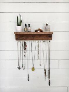 Wall Mount Jewelry Organizer Necklace Holder with shelf