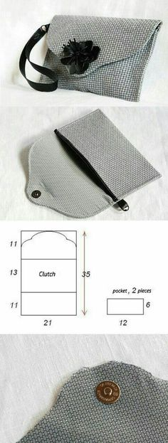 How to easy sew a nice small clutch bag? You can see it here… Purse Patterns, Sewing Patterns, Clutch Bag Pattern, Wallet Pattern, Sewing Tutorials, Sewing Projects, Bag Tutorials, Sewing Hacks, Pochette Diy