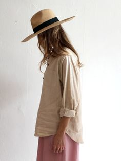 solid colors. straw hat.