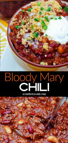 If you're a Bloody Mary fan, then you're going to LOVE this chili! With all the bold flavors of that popular drink, it's a hearty bowl of goodness that's loaded with beef, beans, and warm spicy flavors. (Included are recipe instructions for making Bloody Mary Chili on the stovetop or in the crockpot.) Chili Recipes, Slow Cooker Recipes, Crockpot Recipes, Soup Recipes, Great Recipes, Favorite Recipes, Delicious Recipes, Easy Recipes, Recipies