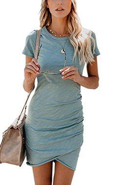 6872b2a5fb3 ECOWISH Womens Dresses Summer Casual Ruched Short Sleeve Irregular Bodycon  Mini Dress