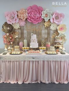 IG & Blush & Gold Dessert table - paper flower backdrop - cakes - name sign - linen - cupcakes - French macarons For rent or purchase. IE We ship flowers nationwide. Gold Dessert Table, Candy Table, Dessert Bars, Dessert Table Backdrop, Candy Buffet, Babyshower Dessert Table, Dessert Buffet, Fiesta Shower, Shower Party