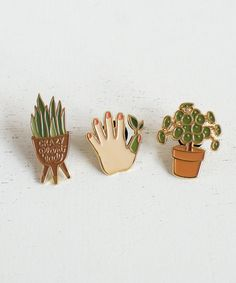 Plant Lady Enamel Pins
