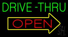 Green Drive-Thru Open Arrow Neon Sign 20 Tall x 37 Wide x 3 Deep, is 100% Handcrafted with Real Glass Tube Neon Sign. !!! Made in USA !!!  Colors on the sign are Green, Yellow and Red. Green Drive-Thru Open Arrow Neon Sign is high impact, eye catching, real glass tube neon sign. This characteristic glow can attract customers like nothing else, virtually burning your identity into the minds of potential and future customers.