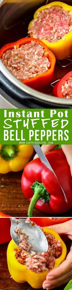 Instant Pot Stuffed Bell Peppers Instant Pot Stuffed Peppers -No pre-cooking of peppers or sautéing onion is needed. Simply fill with them and cook under pressure. Easy-peasy comfort food ready in no time! Instant Pot Pressure Cooker, Pressure Cooker Recipes, Pressure Cooking, Pressure Pot, Instant Pot Dinner Recipes, Recipes Dinner, Dessert Recipes, Dishes Recipes, Donut Recipes