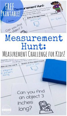 FREE Measurement Hunt Math Challenge for kids to learn about and practice measuring (hands on Teaching Measurement, Measurement Activities, Teaching Math, Math Activities, First Grade Measurement, Math Resources, Math Lesson Plans, Math Lessons, Math Challenge