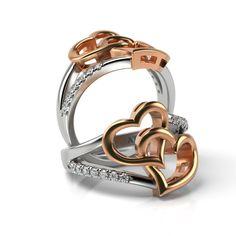 Inel de logodna din aur roz si alb cu diamante Zivon