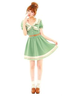 Clearance - sailor dress in sage I wonder if this color green would look good on me