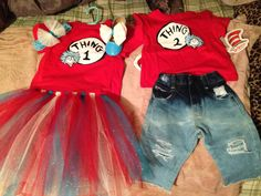 Diy distressed/ bleached denim boys jeans; diy toddler girls thing 1 tutu... Diy girls headband with bow