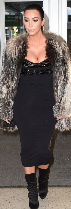 Kim Kardashian's black dress, sequin top, and velvet boots airport style id