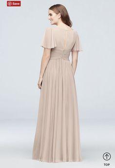 5caf894804766c Flutter Sleeve Crisscross Mesh Bridesmaid Dress (Size 18)
