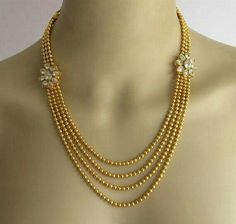 Gold Crystal Necklace Set/Gold Multi Layered by Beauteshoppe Indian Wedding Jewelry, Indian Jewelry, Bridal Jewelry, Kerala Jewellery, Hair Jewellery, Indian Bridal, Gold Jewellery Design, Gold Jewelry, Diamond Jewellery