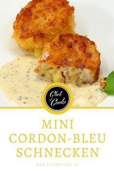 Mini Cordon-Bleu Schnecken mit einem würzigen Dip