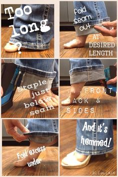 Quick & easy, no stitch, sew or cut required, removable / temporary cheat for trimming jeans hem with original seam. MUST SEE!