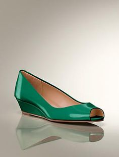 Emerald ad Pink ones are really cute. Peep-Toe Wedge Shoes | Talbots