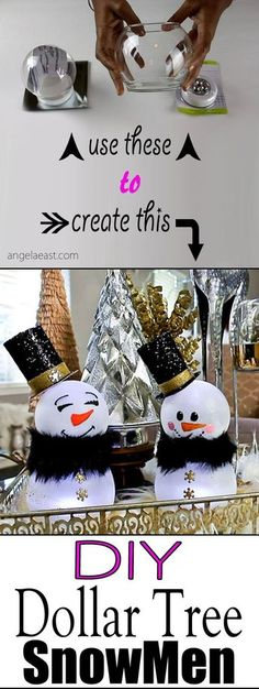 DIY Christmas Decor - Dollar Tree Snowman - Angela East - DIY Dollar Tree Snowman by cathleen Best Picture For diy For Your Taste You are looking for somet - Dollar Tree Gifts, Dollar Tree Christmas, Christmas Items, Diy Christmas Gifts, Kids Christmas, Christmas Ornaments, Christmas Snowman, Xmas Trees, Snowman Tree