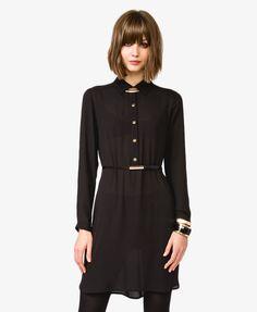 Forever 21 Шифоновое платье-рубашка с поясом