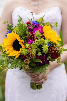 Amazing, colorful wildflower bouquet with sunflowers {Genesa Richards Photography}