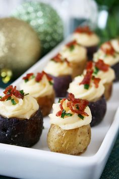 Twice Baked Mini Potato   There will be pies and cakes, cookies and ribbon candy, and too many calories to count. @myfriendsbakery