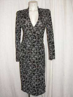 TALBOTS Jersey Dress Black Brown White Rayon Wrap Style Crossover V-neck Size 6P #Talbots #WrapDress #WeartoWork