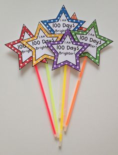 """Celebrate the 100th day of school with your students by showing them just how much you think they shine! These """"100 Days Brighter"""" gift tags are the perfect topper for a glow stick or glow bracelet!"""