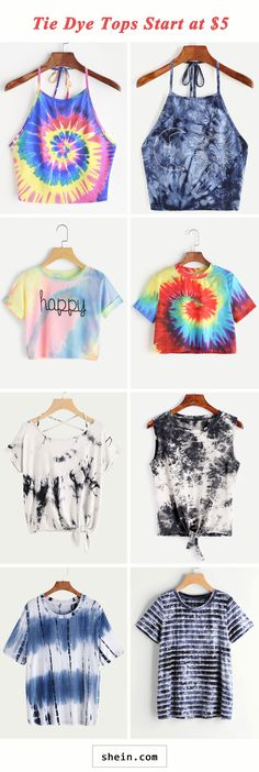 Tie dye tops start at $5!
