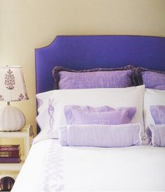 "lavender Leontine linens in a design by Katie Ridder shown in the designer's ""Look at My Leontine"" feature"