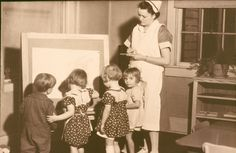 Vanderbilt nursing students spent much time in the community, observing children in preschools and other contexts, as part of their public health training. Here Virginia Moeller, class of 1935, is at the Fannie Battle Day Home in Nashville.