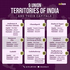 Union territories are special administrative zones in the Republic of India. They do not have a government of their own. They are operated and controlled by the Central Government of India. There are nine union territories in India Gernal Knowledge, General Knowledge Facts, Knowledge Quotes, World History Facts, World History Lessons, History Education, Teaching History, Exam Study Tips, School Study Tips