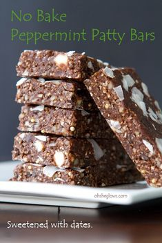 Naturally sweetened with dates - version II of my Peppermint Patty Bars! Includes nutritional info. #recipes #vegan #snack