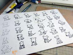 Esboos de um mesmo cachorroSketches from a single dog