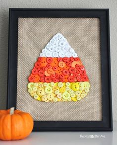 Glue orange, white, and yellow buttons to burlap in a candy corn pattern for a bright mantel art.