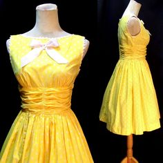 #Vtg 50s Cotton Sleeveless Party Dress, #yellow polka dot, #rick rack, #satin bow, #Teena Paige, #swinger swingers, #pinup bombshell, #scrunched waist waistband, #white polka dots, #size extra small XS small S, #day dress, #1950's 1950s 50's, #mothball haven vintage threads, #gvs team