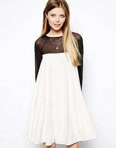 ASOS Mini Dress With Pleat Zip Back Detail