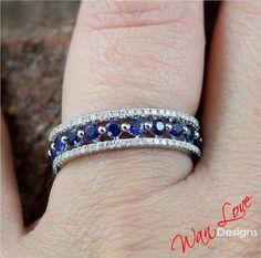 Sapphire Diamond Almost Eternity Band ring by WanLoveDesigns, $449.00