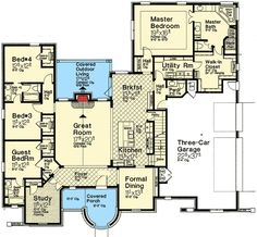 Exclusive House Plan with Turreted Entry - 48518FM | 1st Floor Master Suite, Bonus Room, Butler Walk-in Pantry, CAD Available, Corner Lot, Den-Office-Library-Study, European, Exclusive, Jack & Jill Bath, Media-Game-Home Theater, PDF, Split Bedrooms | Architectural Designs