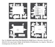 """Louis Kahn was known for his interest in Scottish Castles, by which he elaborated the distinction between 'served' and 'servant spaces', """"with great central living halls and auxiliary spaces nestled into thick outside walls"""". The castles were a strong inspiration for later works such as the Unitarian Church in Rochester and Erdman Hall at Bryn Mawr College. Khan's sketches of castles:"""