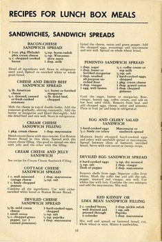 How to Pack Lunch Boxes for War Workers, 1943 Vintage Recipes for sandwiches and sandwich fillings - some show promise for apps or snacks Retro Recipes, Old Recipes, Vintage Recipes, Cookbook Recipes, Cooking Recipes, Homemade Cookbook, Cookbook Ideas, Cooking Bacon, Healthy Recipes