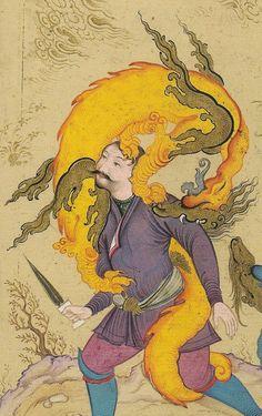 Esfandiyâr (?) Rostam (?) ou Bahrâm Gûr combattent l'Ezhdehâ (dragon) - Mo'in Mosavver. Le chant du monde - L'art de l'Iran safavide 1501-1736 Assadullah Souren Melikian-Chirvani.