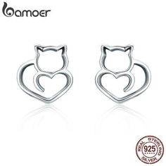 9f4f35926 cutecatslovers Authentic 925 Sterling Silver Cute Cat Small Stud Earrings  for Women Cat Jewelry, Animal