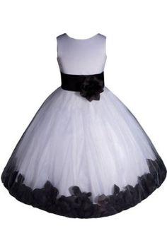 AMJ Dresses Inc Girls White/black Flower Girl Pageant Dress Sizes 2 to 12,