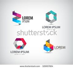 Vector set of abstract colorful ribbon, origami, paper, 3d ions, logos isolated. Identity for company, web site logo - stock vector