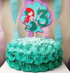 Mermaid Cake topper by HandcraftedByW on Etsy Little Mermaid Cake Topper, Little Mermaid Birthday Cake, Little Mermaid Parties, Diy Cake Topper, Birthday Cake Toppers, Cupcake Toppers, Ariel Cake, Wedding Cake Fresh Flowers, Wedding Cakes