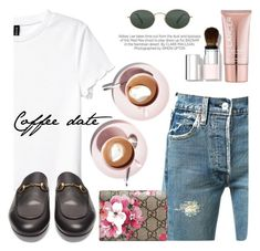 """""""Coffee date"""" by fashvibe ❤ liked on Polyvore featuring Kershaw, H&M, Levi's, Gucci, Ray-Ban, Chantecaille and Lancer Dermatology"""