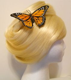 Large+Monarch+Butterfly+Hair+Clip+Feather+Orange+by+MyFairyJewelry,+$5.00