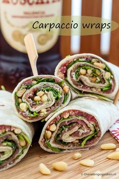 Wraps with Parma ham, sun dried tomatoes and pesto mayonnaise Cooking idea - Lunch Snacks Clean Eating Snacks, Healthy Snacks, Healthy Recipes, Healthy Eating, Pesto, Snacks Für Party, Happy Foods, Wrap Recipes, High Tea